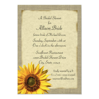 "Country Sunshine Sunflower Bridal Shower 5"" X 7"" Invitation Card"