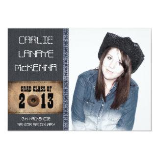 Country Sweetheart Girl Grad Denim Jean Style Card