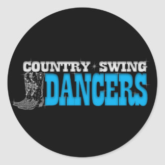 Country Swing Dancers Window Decal Classic Round Sticker
