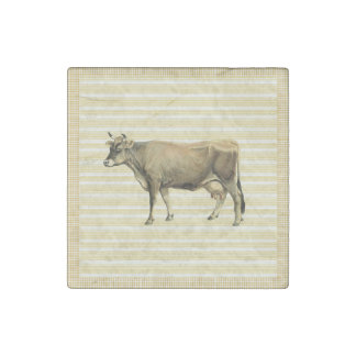 Country Tan Cow Beige Stripe Gingham Check Decor Stone Magnets