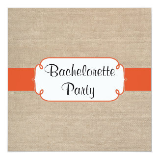 Country Tangerine and Burlap Bachelorette Party Card