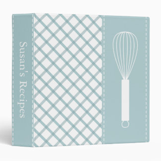 Country Teal Plaid Whisk Recipe Binder