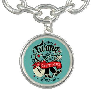 Country Twang Red/Black ID464 Charm Bracelet