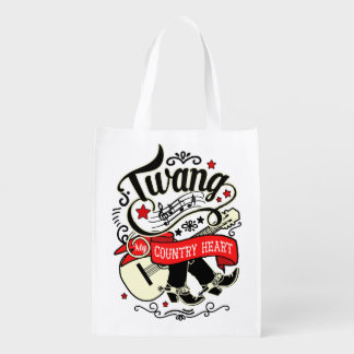 Country Twang Red/Black ID464 Reusable Grocery Bag