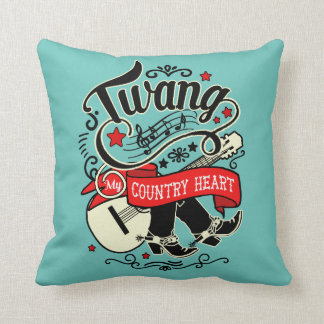 Country Twang Red/Black ID464 Throw Pillow