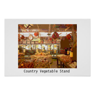 Country Vegetable Stand Poster