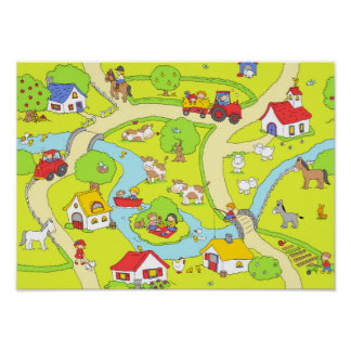 Country village scene poster