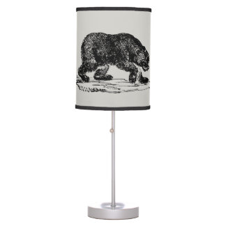 Country Vintage black bear Home office decor lamp