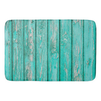 Country Vintage Distressed Old Blue Green Wood Bath Mat