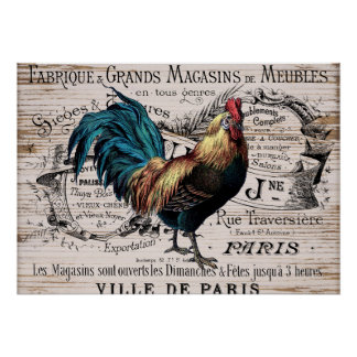 Country Vintage rooster Nostalgic poster