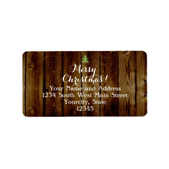 Country Vintage Wood Merry Christmas Label