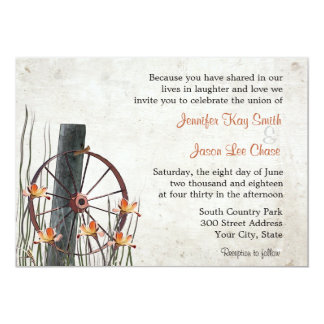 Country Wagon Wheel  Wedding Invitations