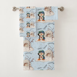 Country Warm Winter welcome penguin bath towel set