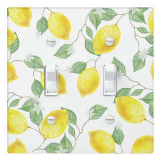 Country Watercolor Lemons & Blossoms Light Switch Cover
