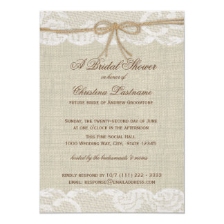"Country Wedding Bridal Shower 5"" X 7"" Invitation Card"
