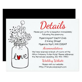 Country Wedding Details Floral  Mason Jar Black Card
