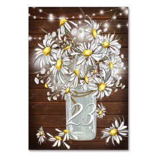 Country Wedding Mason Jar Daisies BarefootBride™ Card