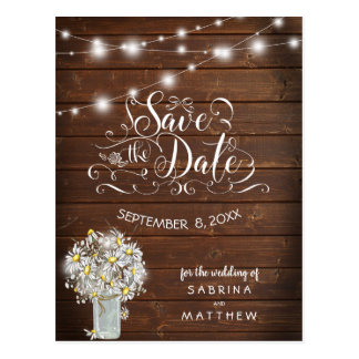 Country Wedding Mason Jar Daisies BarefootBride™ Postcard