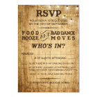 Country wedding RSVP for rustic wedding Card