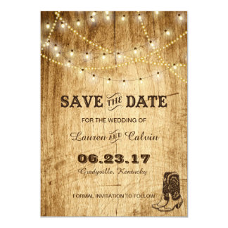 Country wedding Save the Date with cowboy boots Card