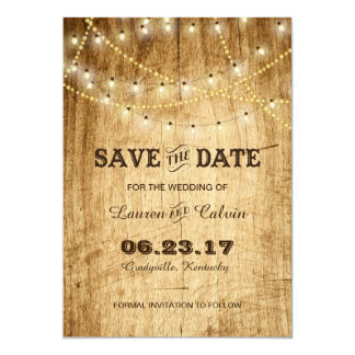 Country wedding Save the Date with lights on wood Card
