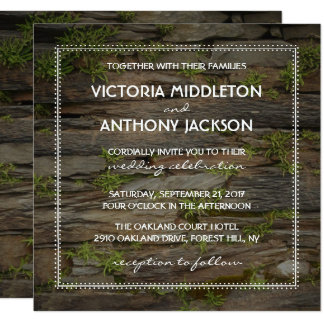 Country Welsh Slate Wedding Invitation