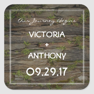 Country Welsh Slate Wedding Square Sticker