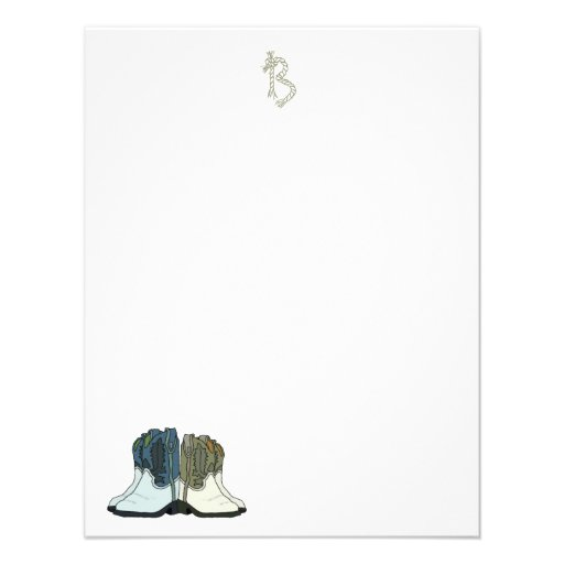Country Western Boots Flat Monogram Note Cards
