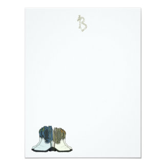 Country Western Boots Flat Monogram Note Cards Personalized Invitation
