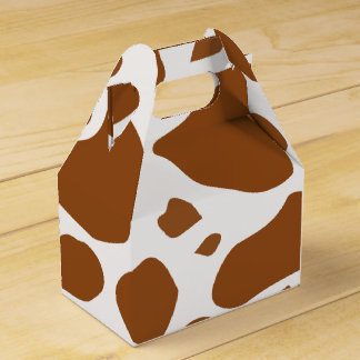 Country Western brown cow party favor box