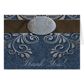 Country Western Denim Thank You Note Card