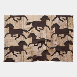 Country Western Horses on Barn Wood Cowboy Gifts Kitchen Towel