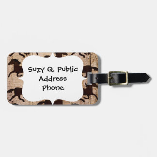 Country Western Horses on Barn Wood Cowboy Gifts Luggage Tag