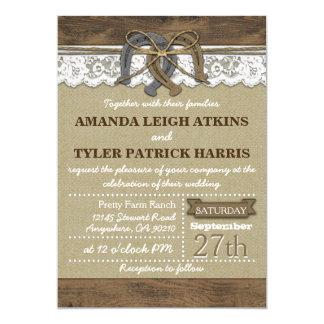 "Country Western Horseshoe Wedding Invitations 5"" X 7"" Invitation Card"