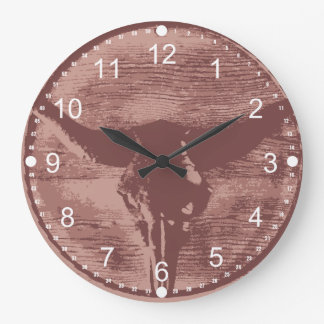 Country Western Longhorns Bull Skull Cowboy Gifts Large Clock