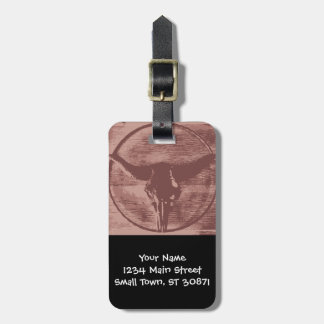 Country Western Longhorns Bull Skull Cowboy Gifts Luggage Tag