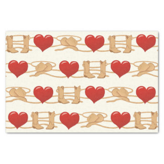 Country Western Ranch Cowboy Heart Tissue Paper