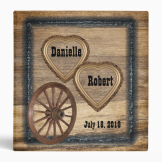Country Western Rustic Wagon Wheel Wedding Album Vinyl Binder