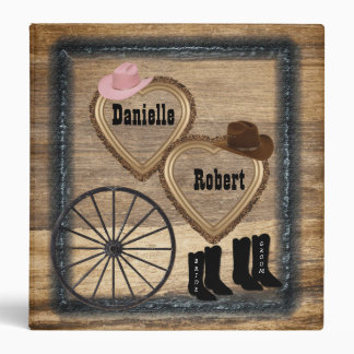 Country Western Rustic Wagon Wheel Wedding Album Vinyl Binders