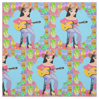 Country Western Singing Cowgirl With Guitar Fabric