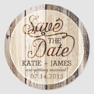 Country Western Wood Rustic Save the Date Label