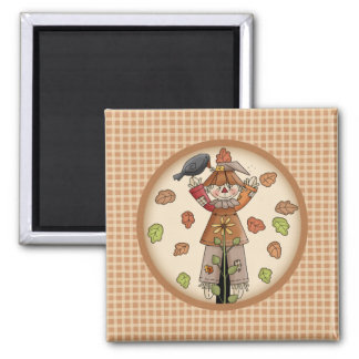 Country Whimsy Autumn Scarecrow with Leaves Fridge Magnet