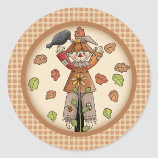 Country Whimsy Autumn Scarecrow with Leaves Round Sticker