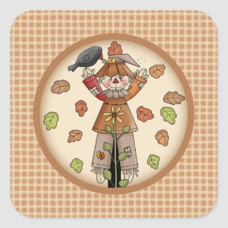 Country Whimsy Autumn Scarecrow with Leaves Square Sticker