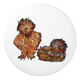 Country White Chickens ceramic knob