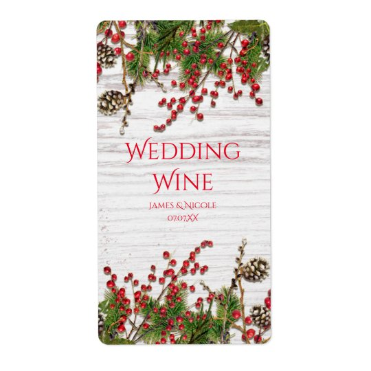 Country Winter Holiday Berries & Pine Cone Wine Shipping Label