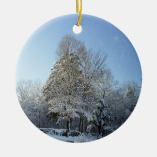 Country Winter Morning Pine Tree Scenes Ceramic Ornament