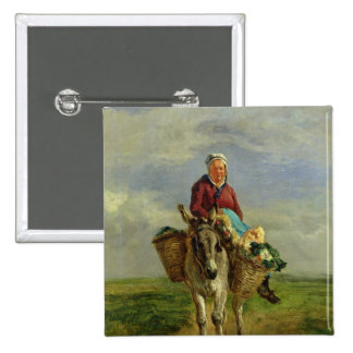 Country Woman Riding a Donkey 2 Inch Square Button