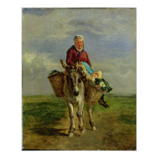 Country Woman Riding a Donkey Poster