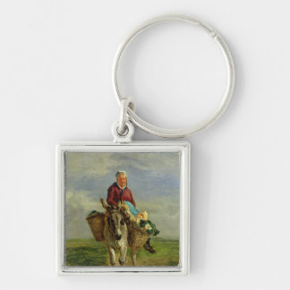 Country Woman Riding a Donkey Silver-Colored Square Keychain